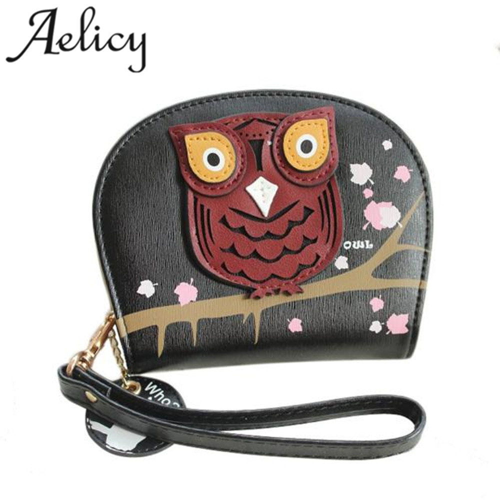 2018 Women High Quality Leather Wallets Colorful Owl Clutch Coin Money Bag Change Wallet Girl Purse Fashion Card Holder Wallet