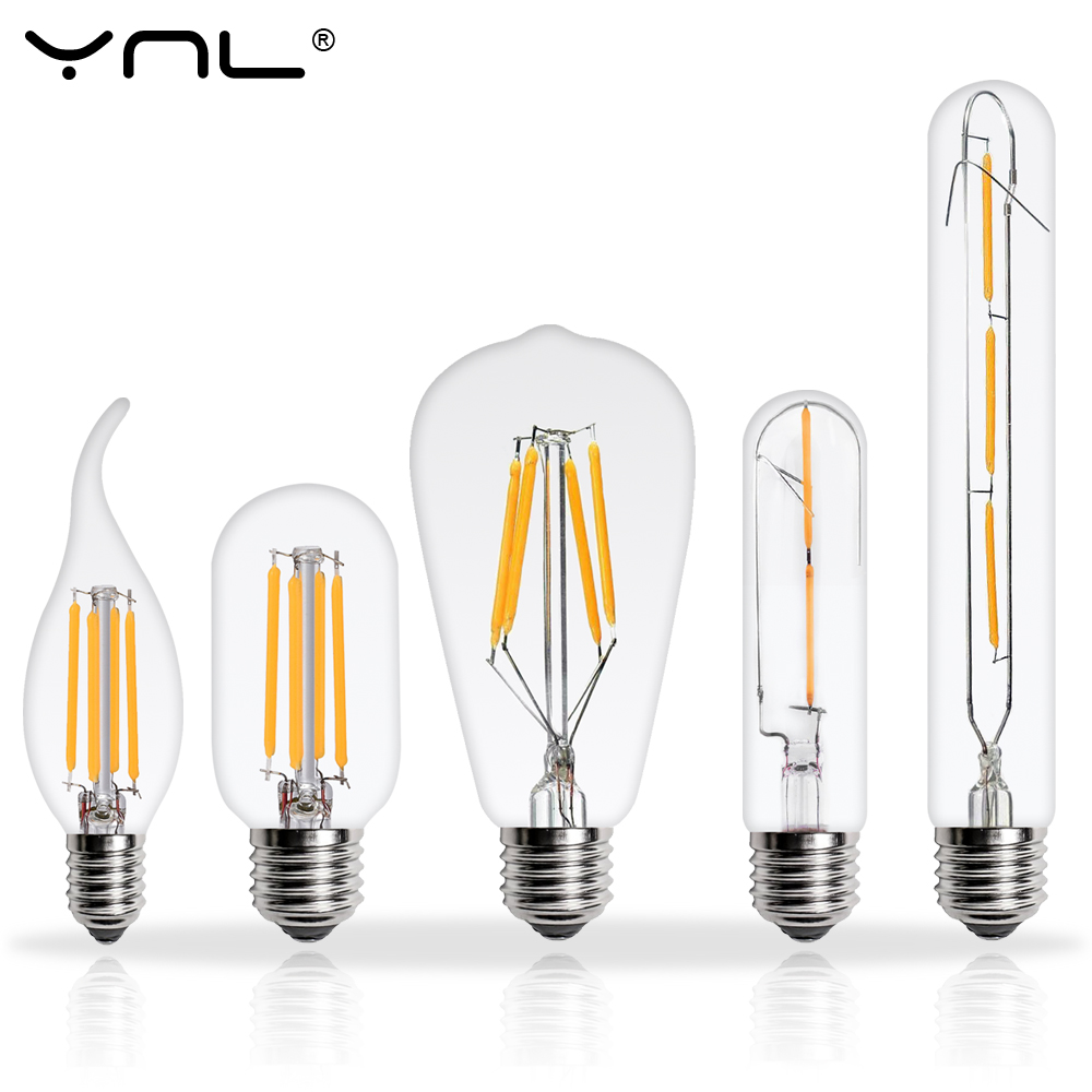 LED Edison Bulb E27 E14 220V 2W 4W 6W 8W Lampada de LED Filament Lamp Vintage Antique Retro Candle Glass Light retro lamp st64 vintage led edison e27 led bulb lamp 110 v 220 v 4 w filament glass lamp