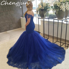 Chengjun Plus Size Custom Royal Blue Mermaid Prom Dress