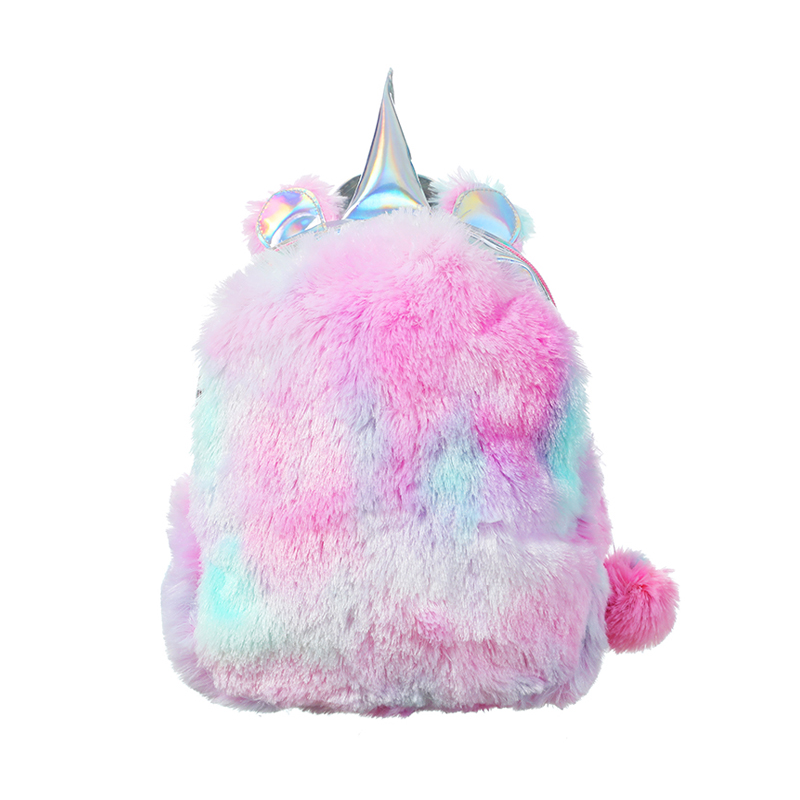 Mini Unicorn Backpack Shoulder Bag For Women Winter Faux Fur Small Backpack Hologram Leather Teenager Schoolbag Mochila Feminina