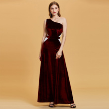 Tanpell one shoulder evening dress black sleeveless floor length a line gown women wedding party prom formal long