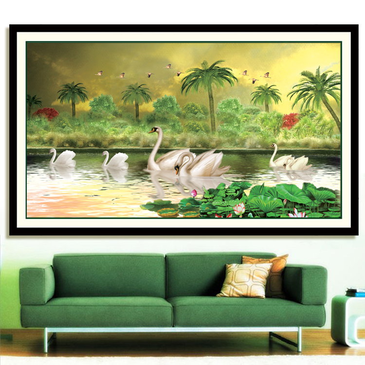3D cross stitch kit cross-stitch sets,KX Fantastic Swan Lake embroidery kits home decoration hand made craft - Oriental Classical store