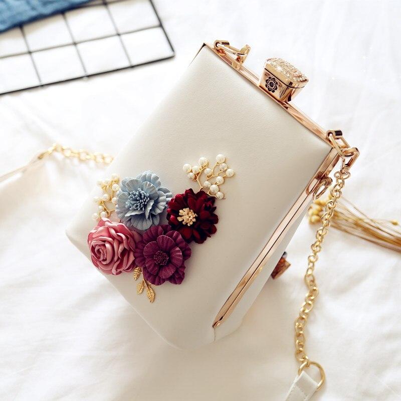 2019 Dame Mode Elegante Witte Keten Diner Avond Clutch Schoudertas Bloem Banket Handtas Vrouwelijke Bruiloft Bruid Avondtasje Chinese Smaken Bezitten