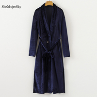 SheMujerSky Women Winter Dresses Blue Velvet Dress Long Sleeve Sashes Long Dress Split Elegant Vestido 2017