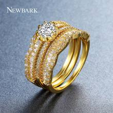 NEWBARK Classic Wedding Ring Set 3 PCS Firm 8 Claws Prong Setting Gold/Silver Color Like Crown Paved AAA+ White Zircon Gifts