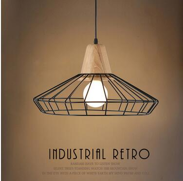 new arrival iron&wood pendent  lamp item A/B  dining room lamp with led E27 bulb A003 new arrival birdcage diamond shape iron pendent lamp black white bar dining room decor pendent lights a005 45