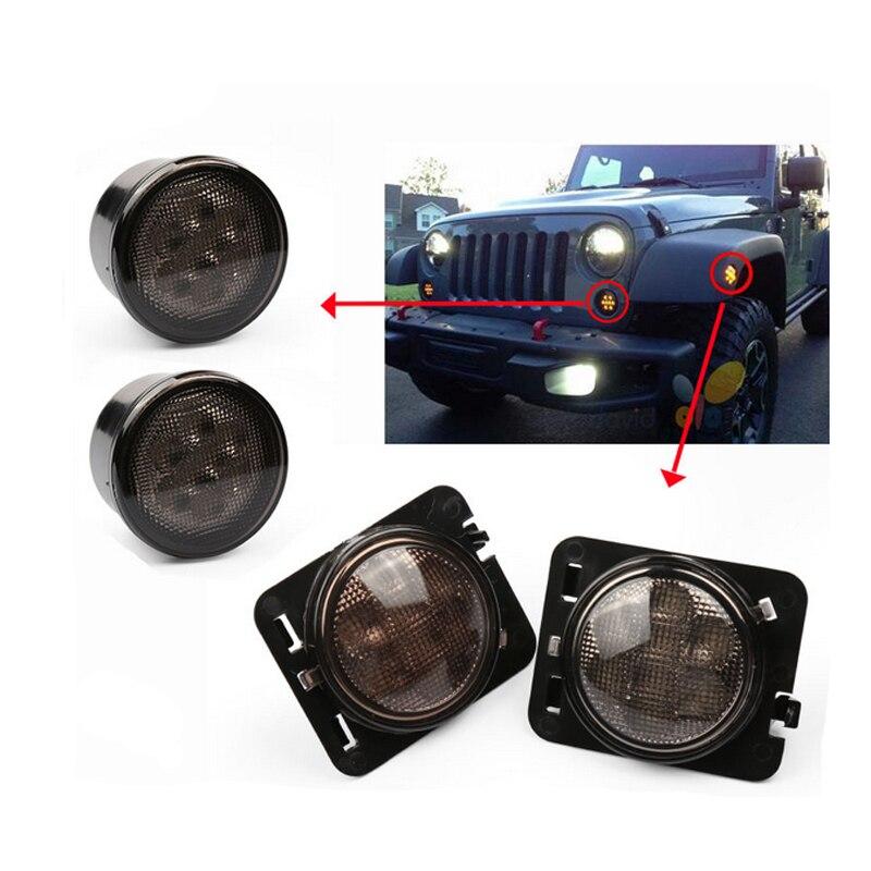 4PCS/Lot 8 LEDs Light Front Fender Flares Side Marker Turn Signal Light LED Lamp For Jeep Wrangler JK 2007~2015 Amber 2pcs truck light 4 leds lamp