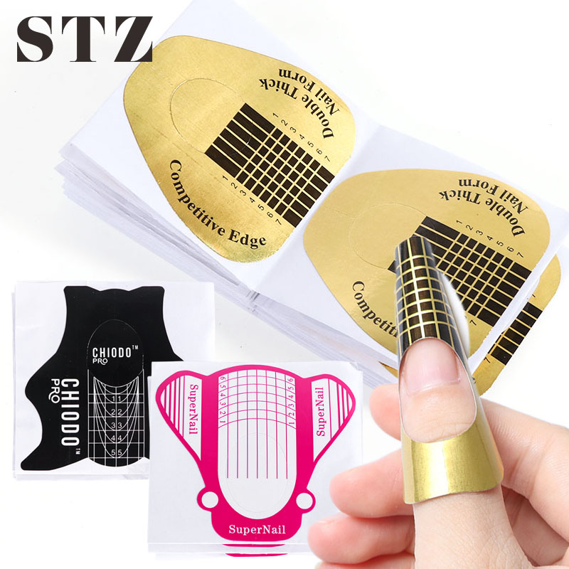 STZ 10 Pcs Nail Art Forms For Building UV Gel Tips Extension Guide Acrylic French Nail Molds Manicure Accessory Design Tool #941