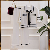 High Quality 2017 Summer Women S 2 Pcs Suits Lady Temperament Black And White Edge Stitching