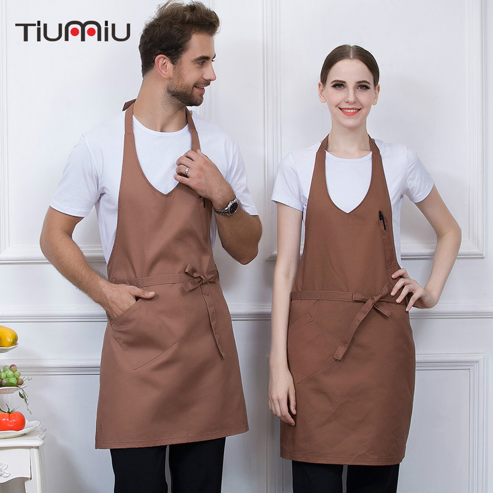 Chef Aprons Unisex Adjustable Halter Round Neck Coffee Shop Bakery Restaurant Cooking Wear Aprons Kitchen Work Uniforms Aprons