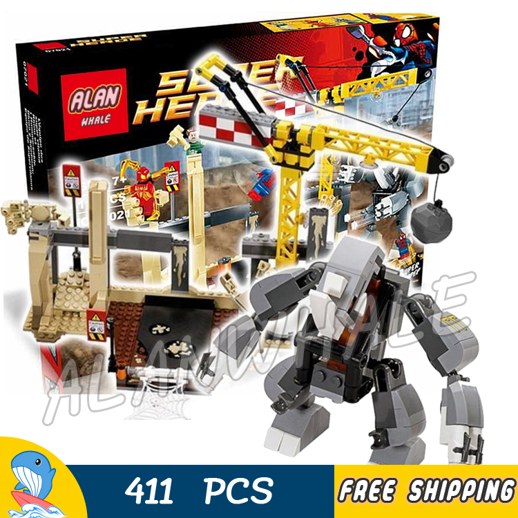 411pcs Super Heroes Spider-Man Rhino and Sandman Super Villain Team-Up 07021 Model Building Block Toy Brick Compatible with Lego team up 3 sb reader with audio cd