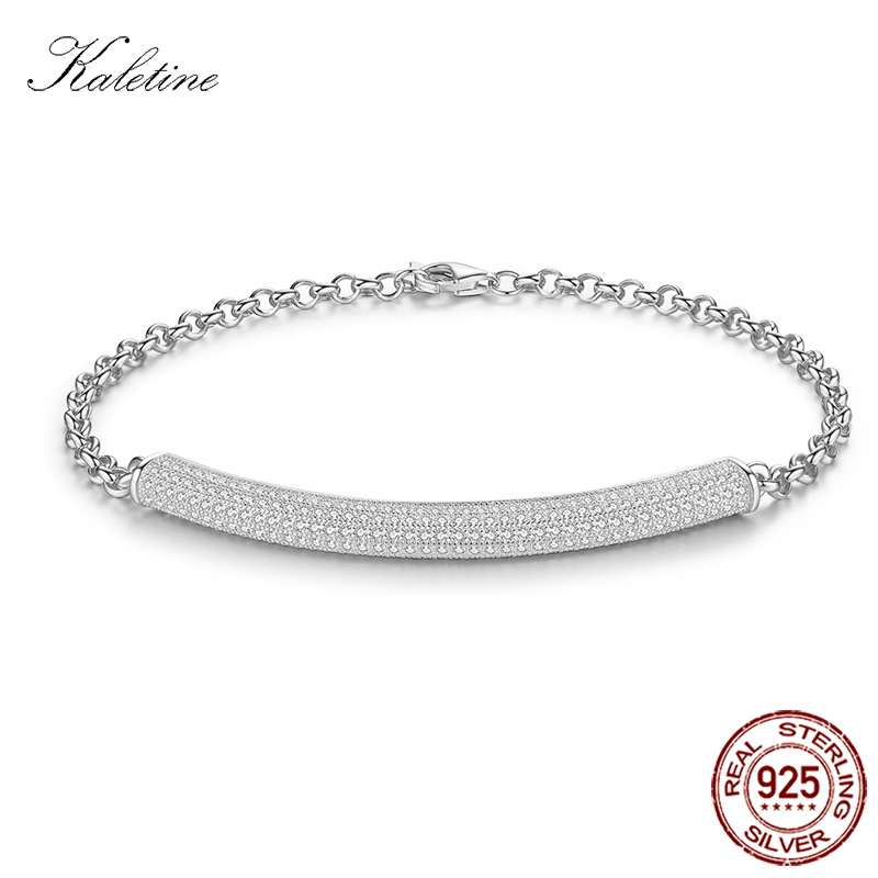 KALETINE Armband Mode Pure 925 Sterling Silver Armband AAA + Cubic Zirconia Micro Pave Inställning Lyx Charm smycken KLTB009