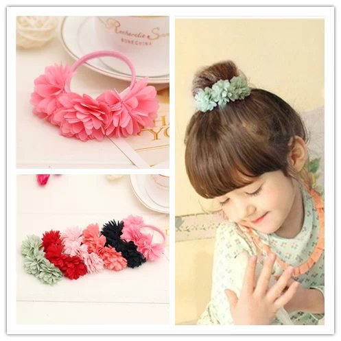 child girls springs elastic hair ties Scrunchie Ponytail Holder chiffon flower hairband floral rubber bands bobbles accessories metting joura vintage bohemian ethnic tribal flower print stone handmade elastic headband hair band design hair accessories