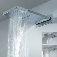 Luxury Dual Function Waterfall & Rain Fall Overhead Brass Chrome Square Shower Head ONLY NEW