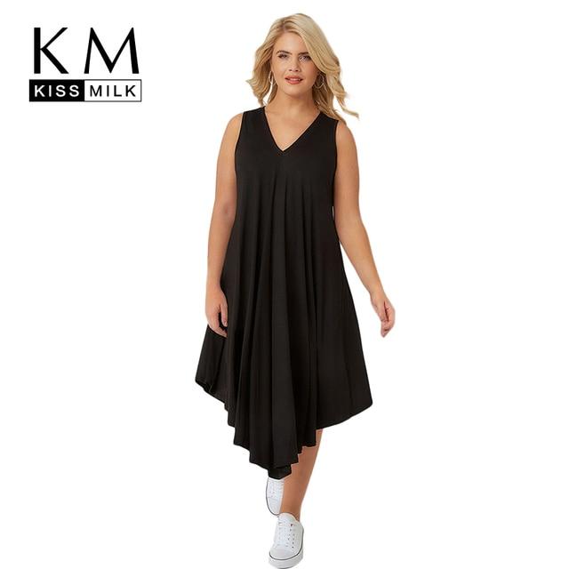Kissmilk Plus Size 2018 Summer Women Solid V Neck Asymmetrical Dress Female  Casual Mid Calf Draped Dress 3XL 4XL 5XL 6XL 7XL-in Dresses from Women\'s ...