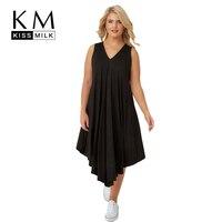 Kissmilk Plus Size 2018 Summer Women Solid V Neck Asymmetrical Dress Female Casual Mid Calf Draped Dress 3XL 4XL 5XL 6XL 7XL