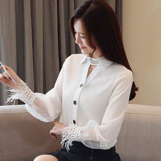 Spring 2019 New Style Long Sleeve women blouses Chiffon shirt lace V-neck shirt woman white blouse causal ladies tops 1891 50 3