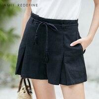 AMII REDEFINE Shorts Women Summer 2018 Causal Lace Up Drawstring Belt Bow High Waist Solid Cotton Linen Shorts skirts