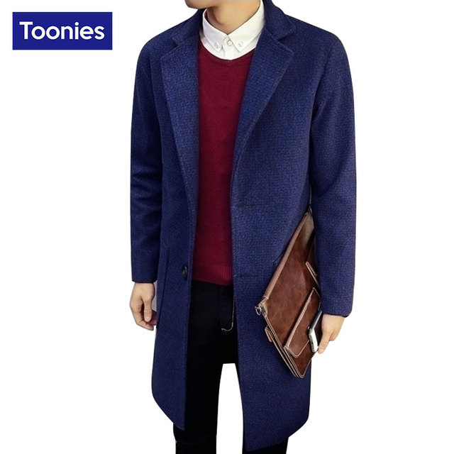 Cotton Cashmere Overcoat for Men Brand-clothing Long Straight Winter Coats Male Woolen M-5XL Wool & Blends Man Warm Jacket Suit