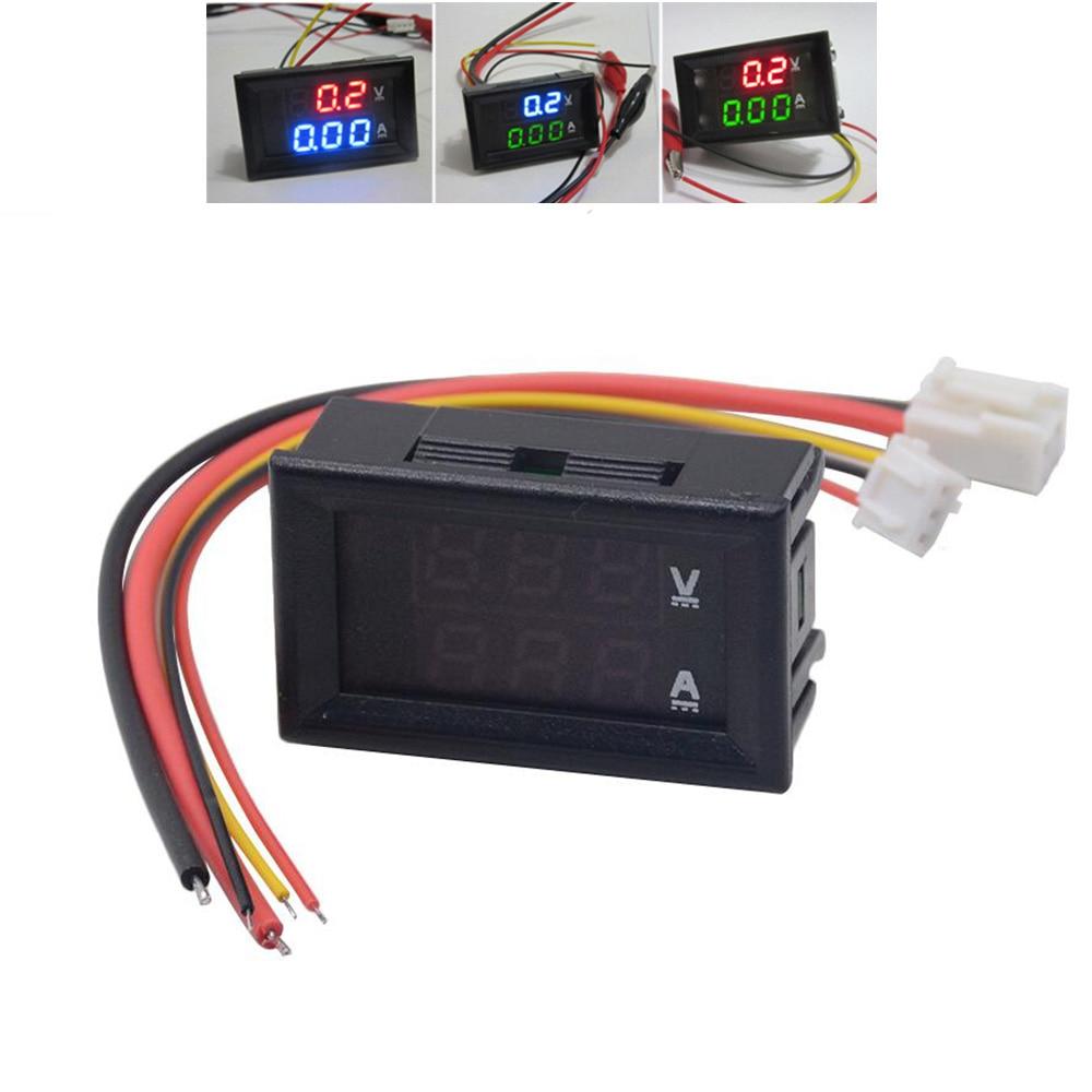 Миниатюрный светодиодный цифровой вольтметр Амперметр постоянного тока 100 в 10 А 0,28 дюйма Вольт Амперметр индикатор напряжения тестер