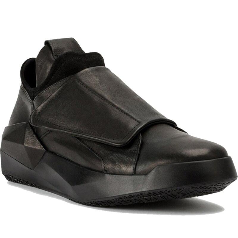 Мужская обувь высокие кроссовки крюк и петля ботильоны без каблука черные мокасины Для мужчин качество кожи Легкий дышащий материал Мокаси