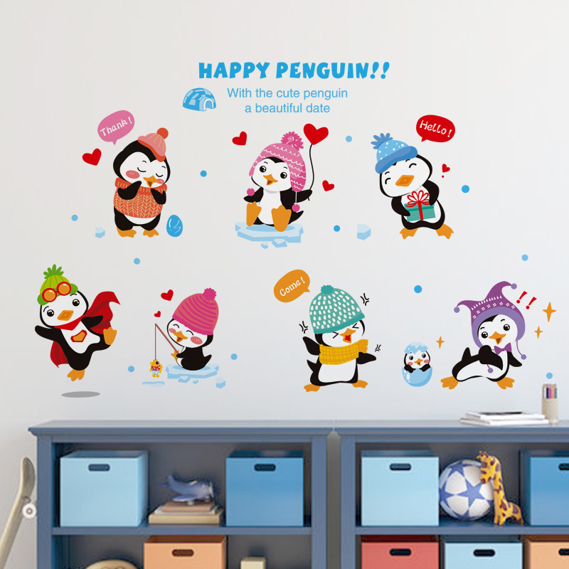 Cute Penguins Family Wall Decal Stickers Happy Penguin Wallpaper Decor Kids Babies Infant Room