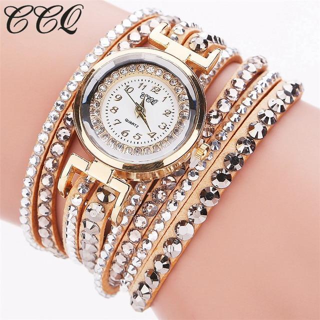 CCQ Brand Fashion Leather Bracelet Watch Women Luxury Full Crystal Quartz Wristw