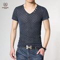 Free shipping Hot 2015 summer style t-shirts men  hollow out short sleeve v-neck fashion healthier Plus size 5 xl  wholesale