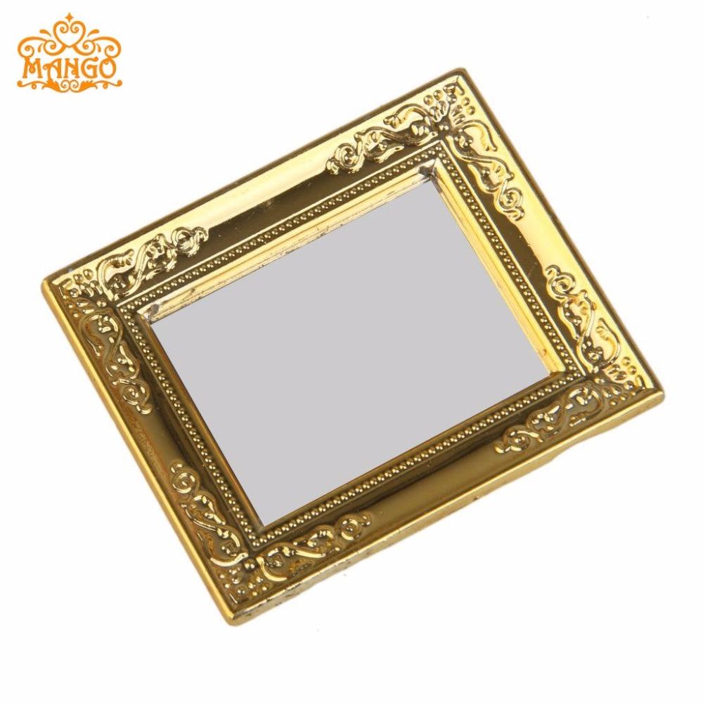 1:12 Miniaturno ogledalo Širina ogledala v okvirju za lutke 5,4 cm, - Igra igranja vlog - Fotografija 3