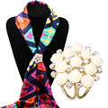 Fashion  Scarf Buckle Luxury Brooches For Women Crystal Broche Lapel Pin Holder Scarfs Clip Circle Brooch Jewelry