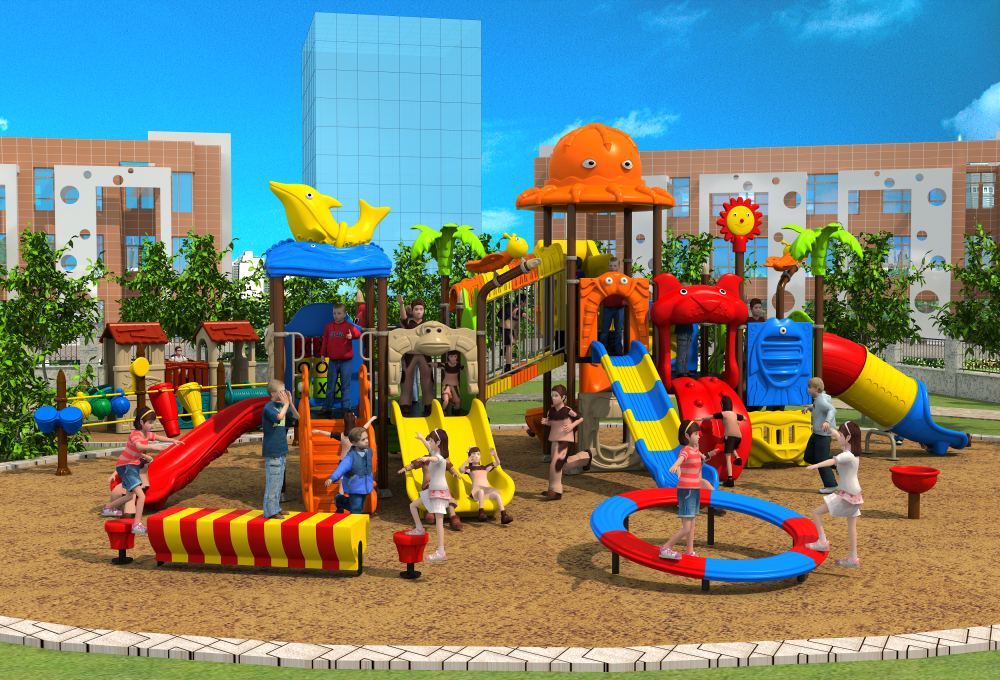 Aire de jeux en plastique extérieure pour enfants sur mesure pour parc/école/YLW-OUT171059 communautaire