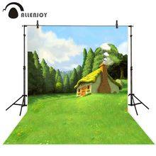 Allenjoy printemps photo arrière plan mystérieux forêt arbres belle conte de fées maison toile de fond peinture à lhuile style nouveau né photocall