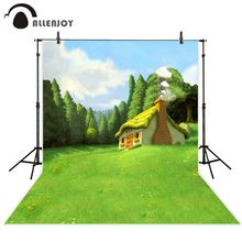Allenjoy spring photo background mysterious Forest trees lovely fairy tale House backdrop oil painting style newborn photocall