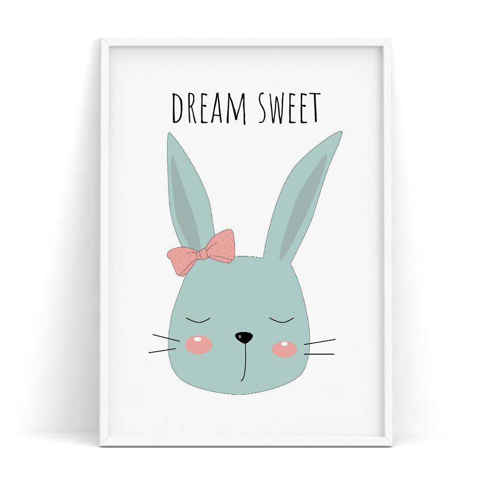 US $2.65 50% OFF|Cute Bunny Rabbit Little Princess Dream Sweet Be Happy My  Baby Quotes Poster Children\'s Baby Room Nursery Wall Art Decor Print-in ...