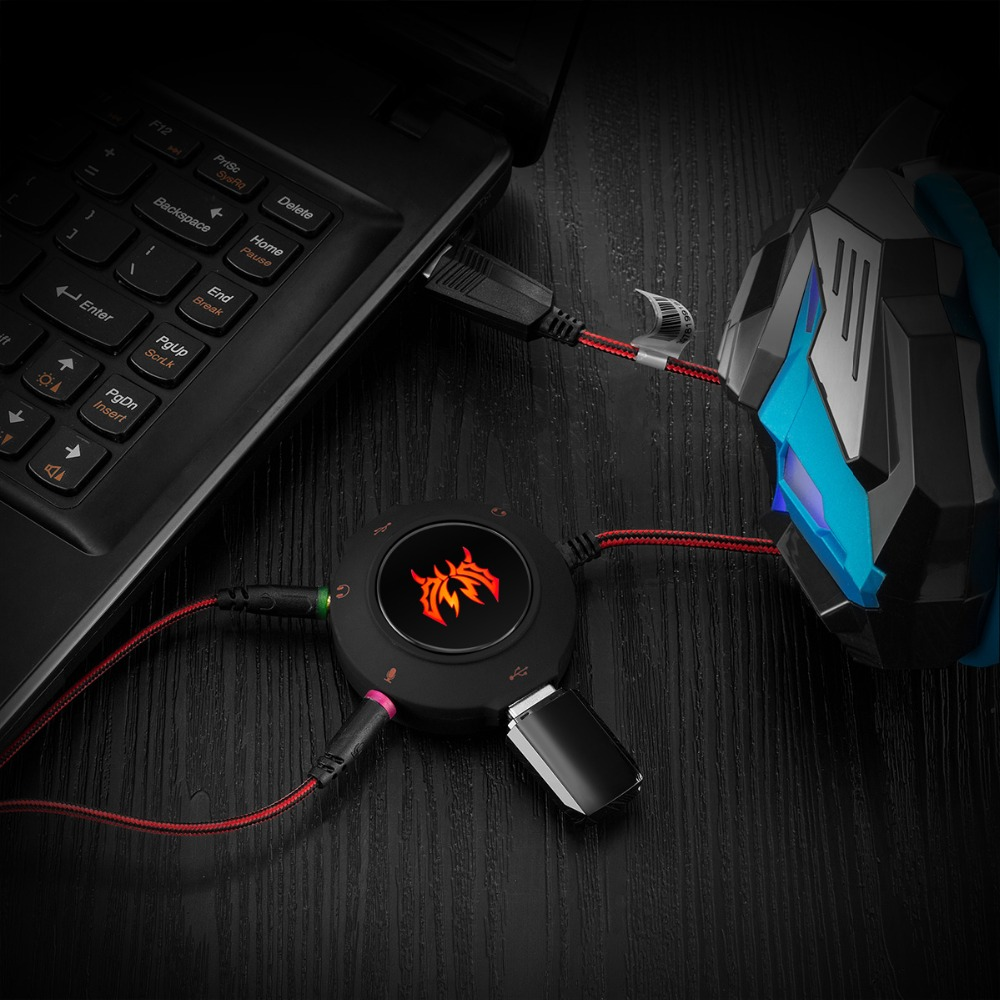 External USB2.0 Sound Card Stereo Headset Adapter USB HUB for PC Laptop PS4 XBOX