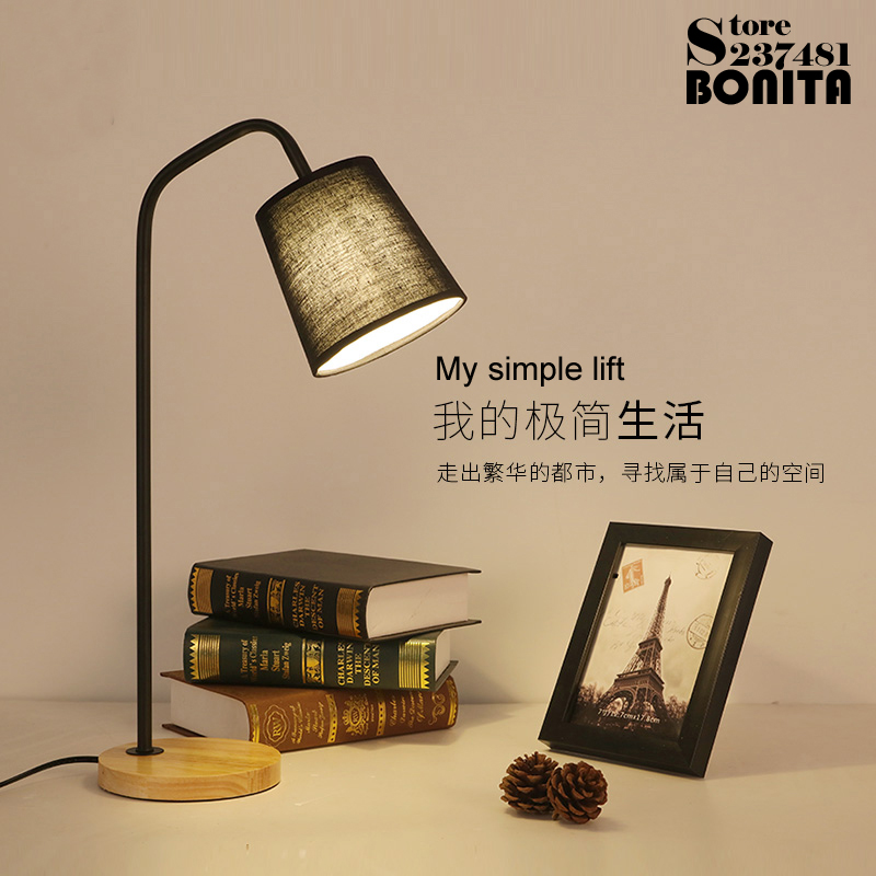 Nordic bedroom bedside desk lamp American creative LED eye protected college dormitory reading lamps Solid wood Iron table light creative hose led desk lamps usb charger dimming lights reading desk lamps bedroom dormitory night light indoor lighting