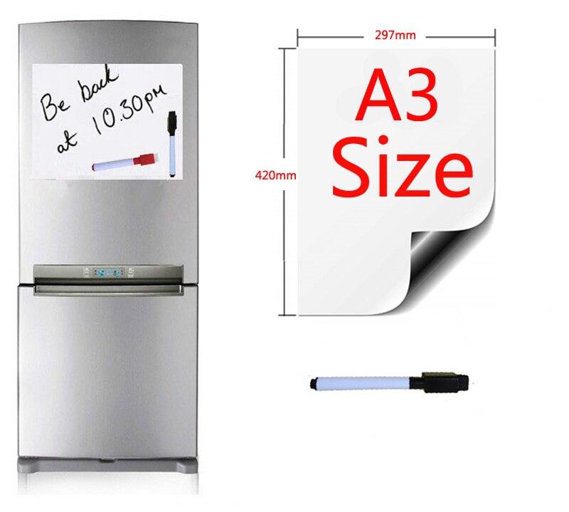 A3 Tamanho 297x420mm Quadro Magnético Ímãs de Geladeira Painéis de Apresentação Da Cozinha Da Casa Placas de Mensagem Escrita Etiqueta 1 Caneta