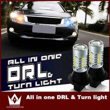 Tcart 2 шт. автомобиля DRL дневного Бег свет поворотники авто светодиодные лампы белый + янтарный WY21W T20 7440 для Mitsubishi outlander Lancer