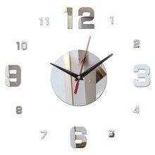 3D mirror acrylic diy wall clocks modern style needle quartz