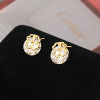 3 Color to Choose Simple Style Hollow Flower Crystal Zircon Stud Earring For Women E-shine Jewelry