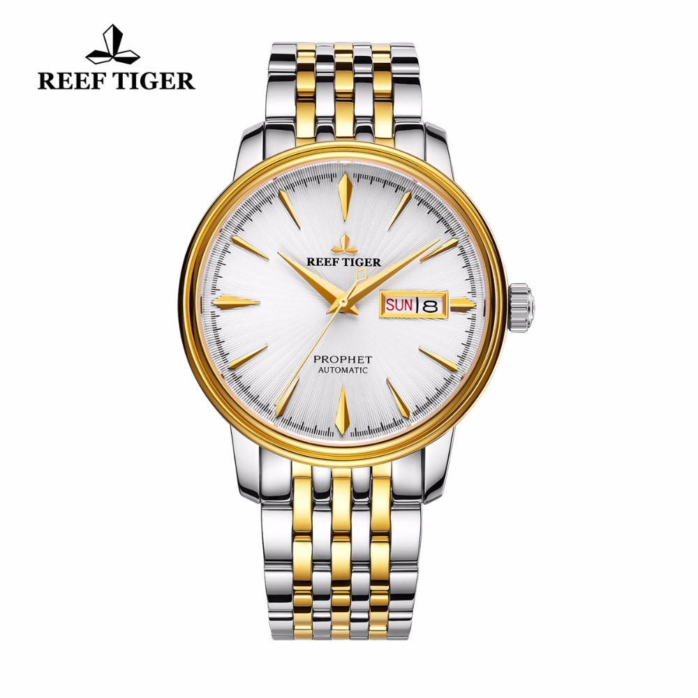2017 Reef Tiger/RT Luxury Dress Watches Mens Yellow Gold Analog Automatic Watches with Date Day RGA8236 вьетнамки reef day prints palm real teal