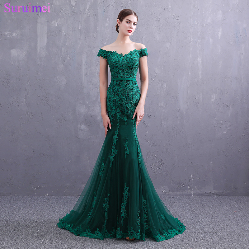 Real Photos Emerald Green Evening Dresses Small V Neck Cap Sleeves Fashion Lace Applqiue Buttons Back Tulle <font><b>Mermaid</b></font> Evening Gown image