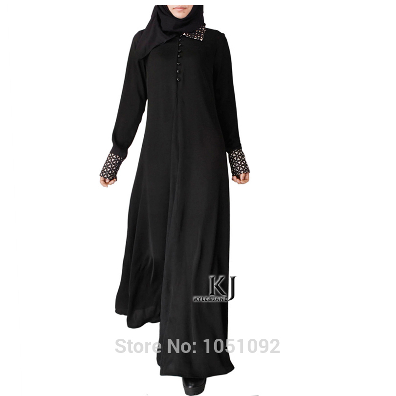 Traditional & Cultural Wear 1pc Plus Size Abayas Traditional Islam Clothing Crystal Embossed Linen Fabric Women Islamic Dress Black Abaya For Sale Kj-150402