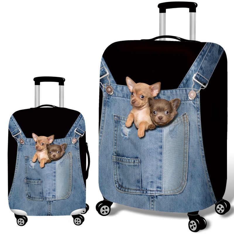 สัตว์ 3D แมวสุนัขป้องกันกระเป๋าเดินทาง 18-32 นิ้วกระเป๋าเดินทางยืดหยุ่นกรณีครอบคลุมสัมภาระรถเข็นปกคลุมฝุ่นอุปกรณ์เสริม