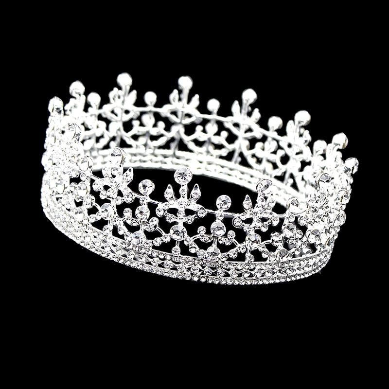 Vintage Perak Warna Kristal Putaran Penuh Raja Ratu Tiara Lingkaran Imperial Abad Pertengahan Pernikahan Mahkota Perhiasan Rambut Pengantin Untuk Wanita