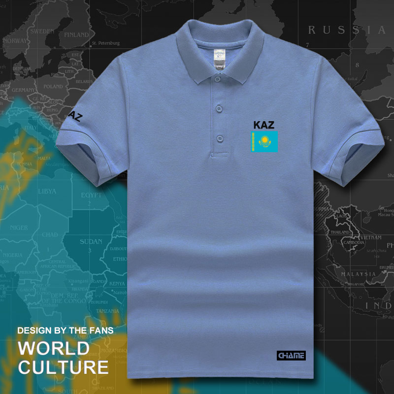 Kazakhstan   polo   shirts men short sleeve white brands printed for country 2017 cotton nation team flag new Kazakh KZ Kazakhstani