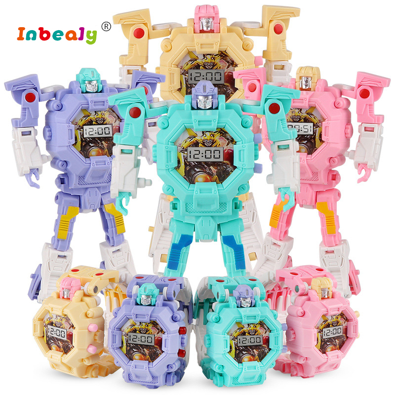 Trasformation Wristwatch Toy Children Sports Cartoon Watches Kids Xmas Gifts Cute Boys Robot Transformation Toys For kids gifts