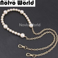 1 2 5 pieces 120cm Purse handle handbag handmade pearl long chain,fashion ladies female wedding evening bag accessories