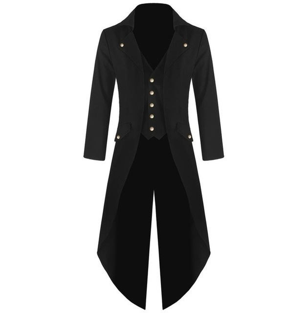bea174e73d6c3 Yjsfg House New Mens Tuxedo Coat Steampunk Vintage Tailcoat Jacket Gothic  Frock Coat Top Windbreaker Suit
