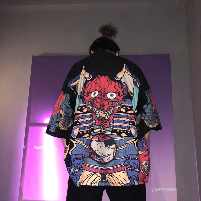Samurai Costume Cardigan Yukata Japanese Kimono Haori Obi Streetwear Traditional Harajuku